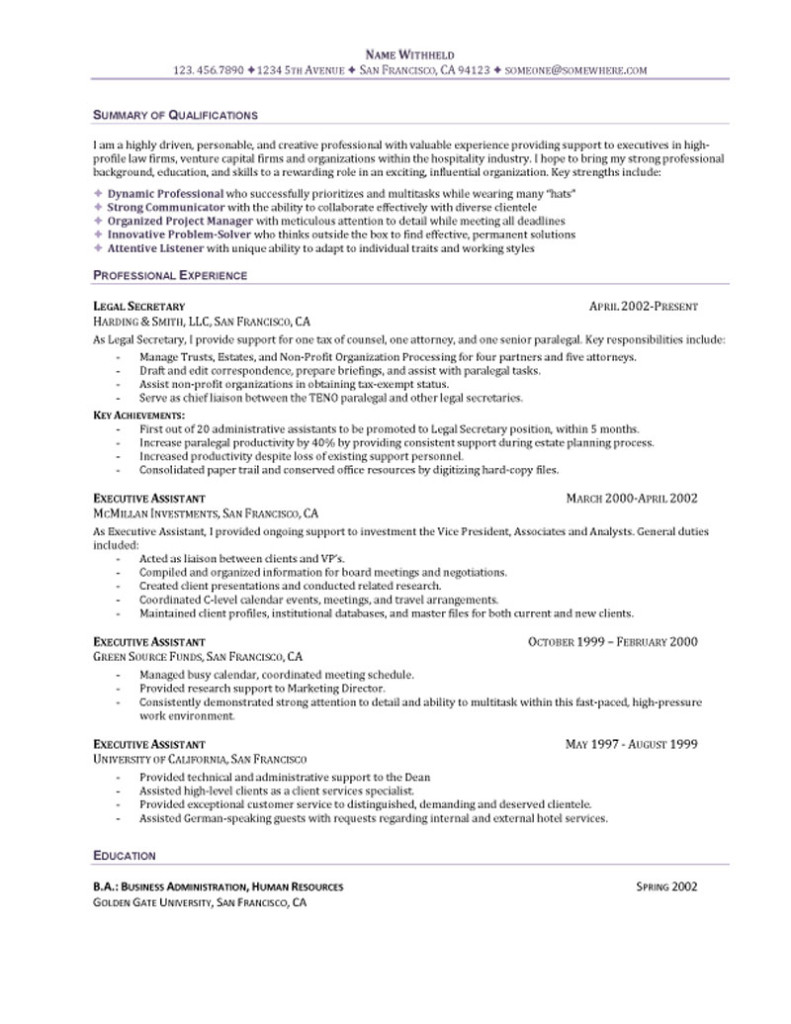 executive assistant resume summary Executive Assistant Resume
