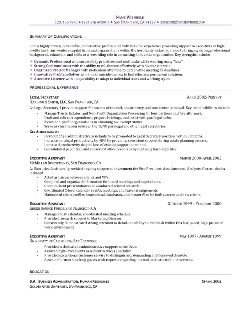 10 executive assistant resume sample