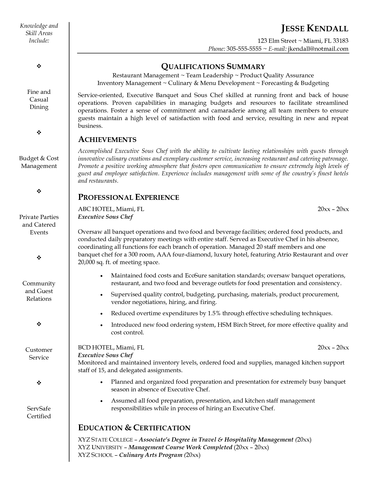 executive sous chef resume example sous chef job description resume by jesse kendall - Example Of Resume Cover Letters