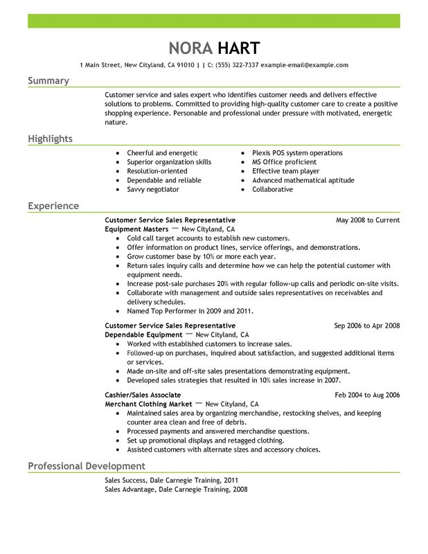 experienced customer service resume customer service representatives sales nora hart