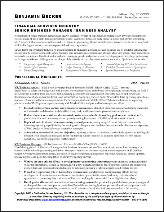 financial services industry senior business manager business analyst business analyst resume entry level business analyst resume by benjamin becker