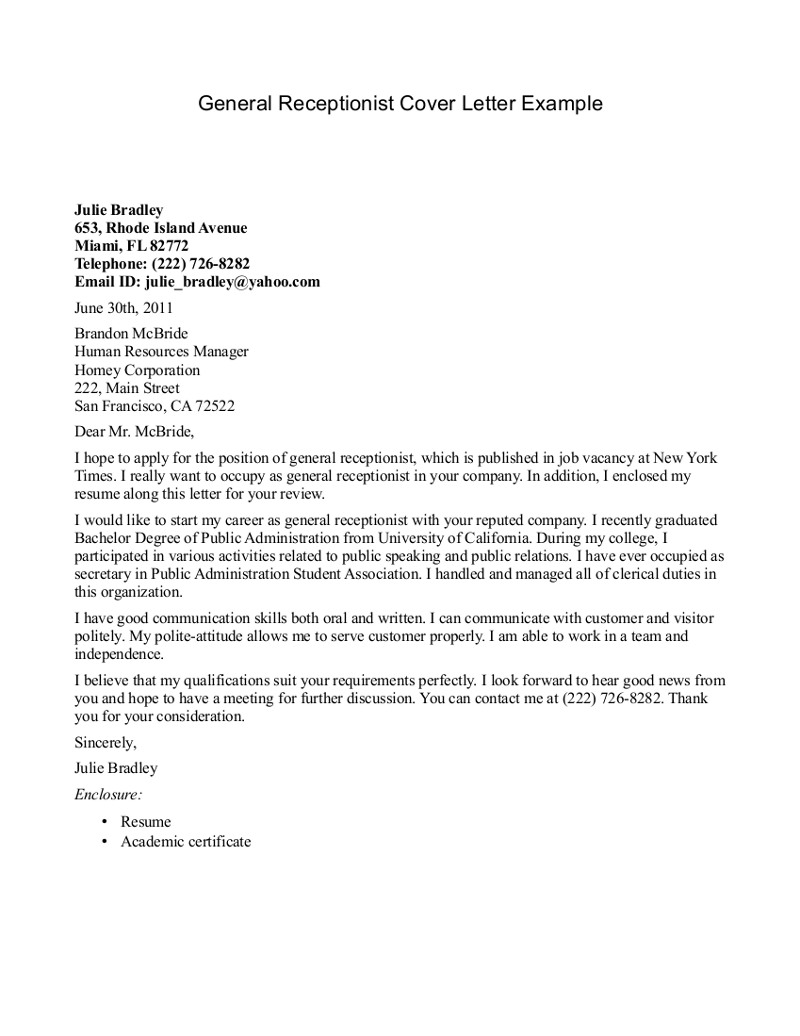 10 general cover letter sample for Cover letter sampels