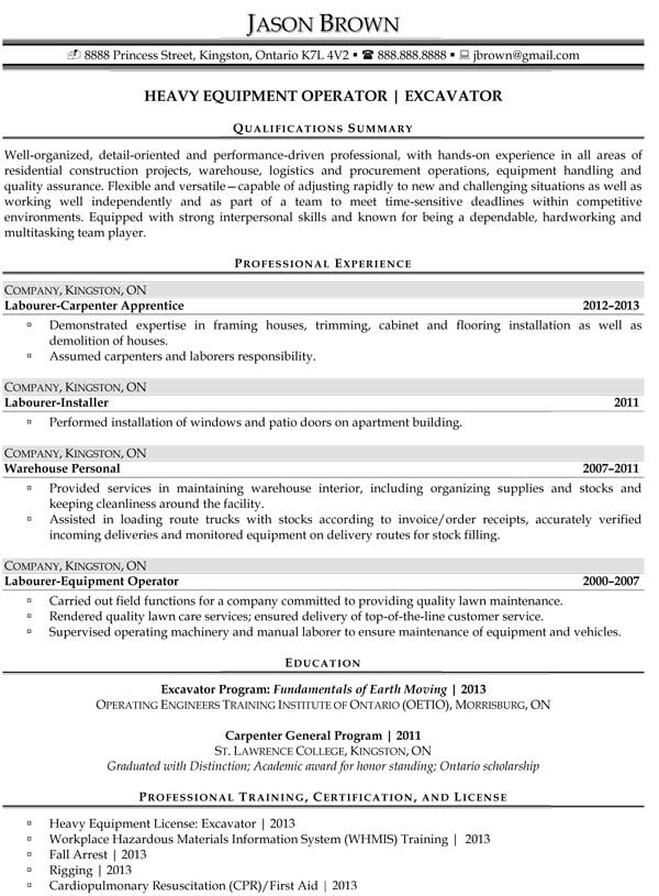 sample resume heavy equipment operator