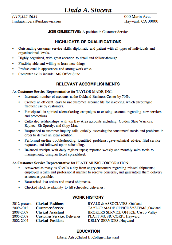 good resume cover letter examples resume sample customer service linda a  sincera