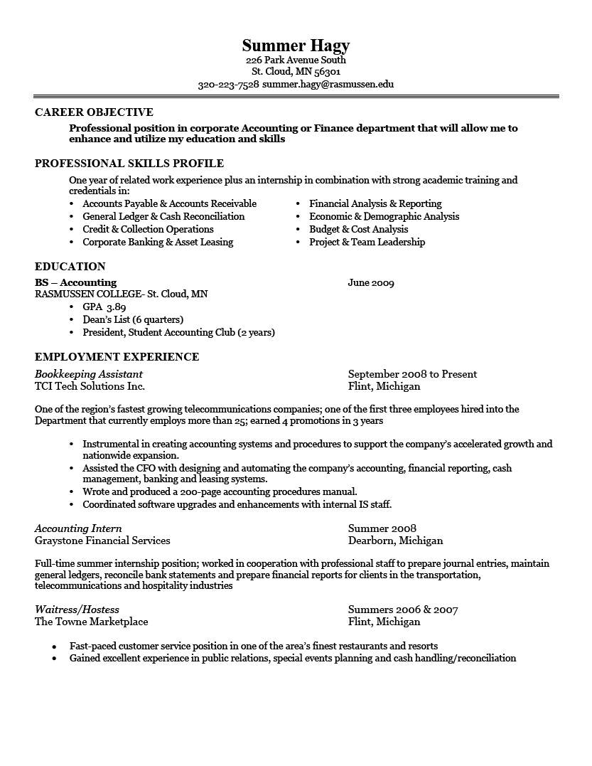 good resume examples career objective professional skills profile education employment