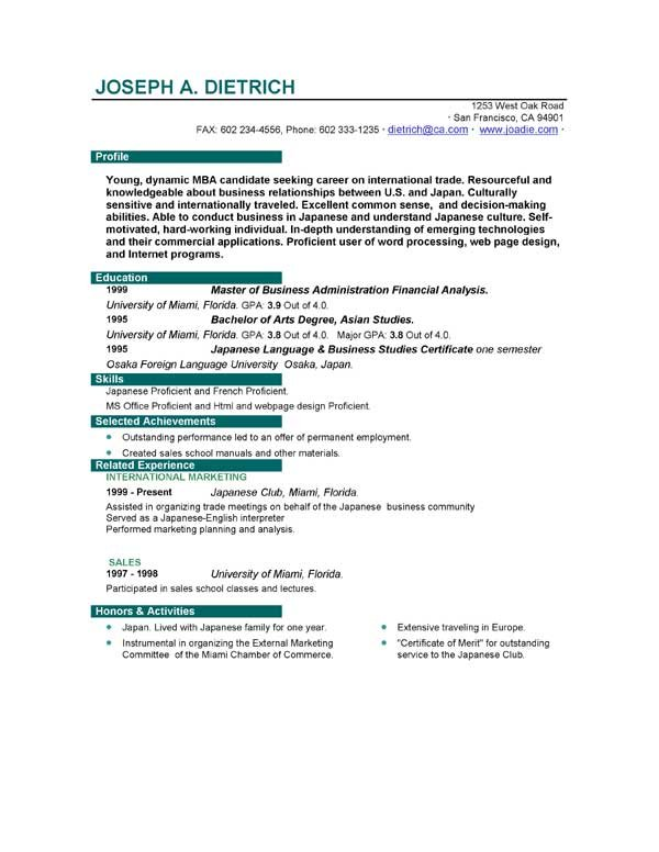 First Job Resume Sample  BesikEightyCo