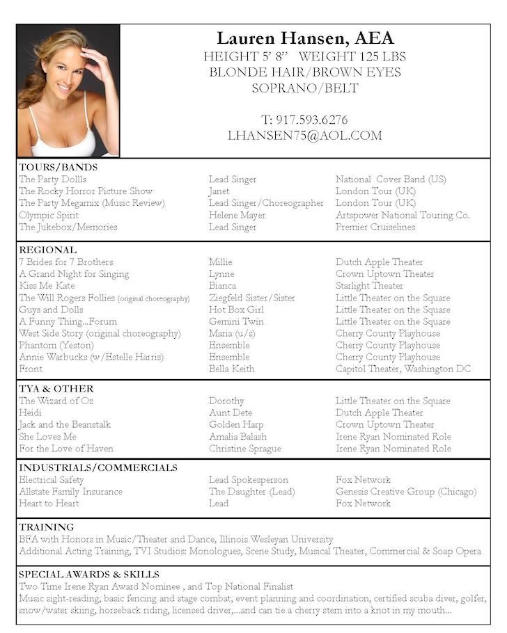 good resume examples for jobs Acting Resume Sample Lauren Hansen