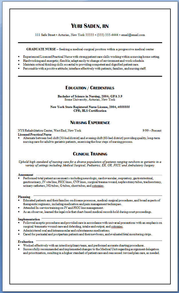 graduate nurse resume nursing resume samples for new graduates yuri saden - Resume For Graduate Nurse