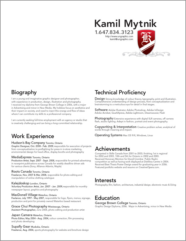 sample resume graphic design student