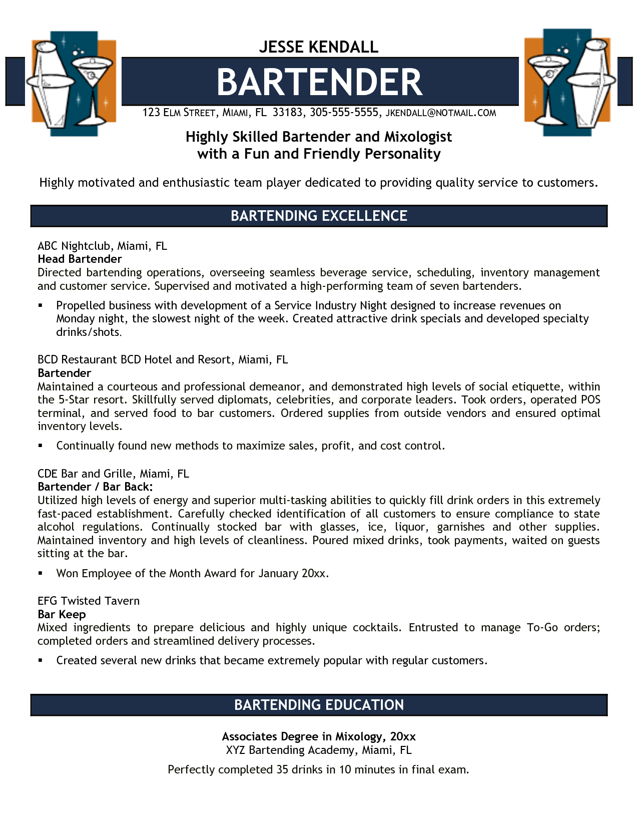 free bartender resume templates highly skilled bartender and mixologist with a fun and friendly personality bartender resume bartender resume sample