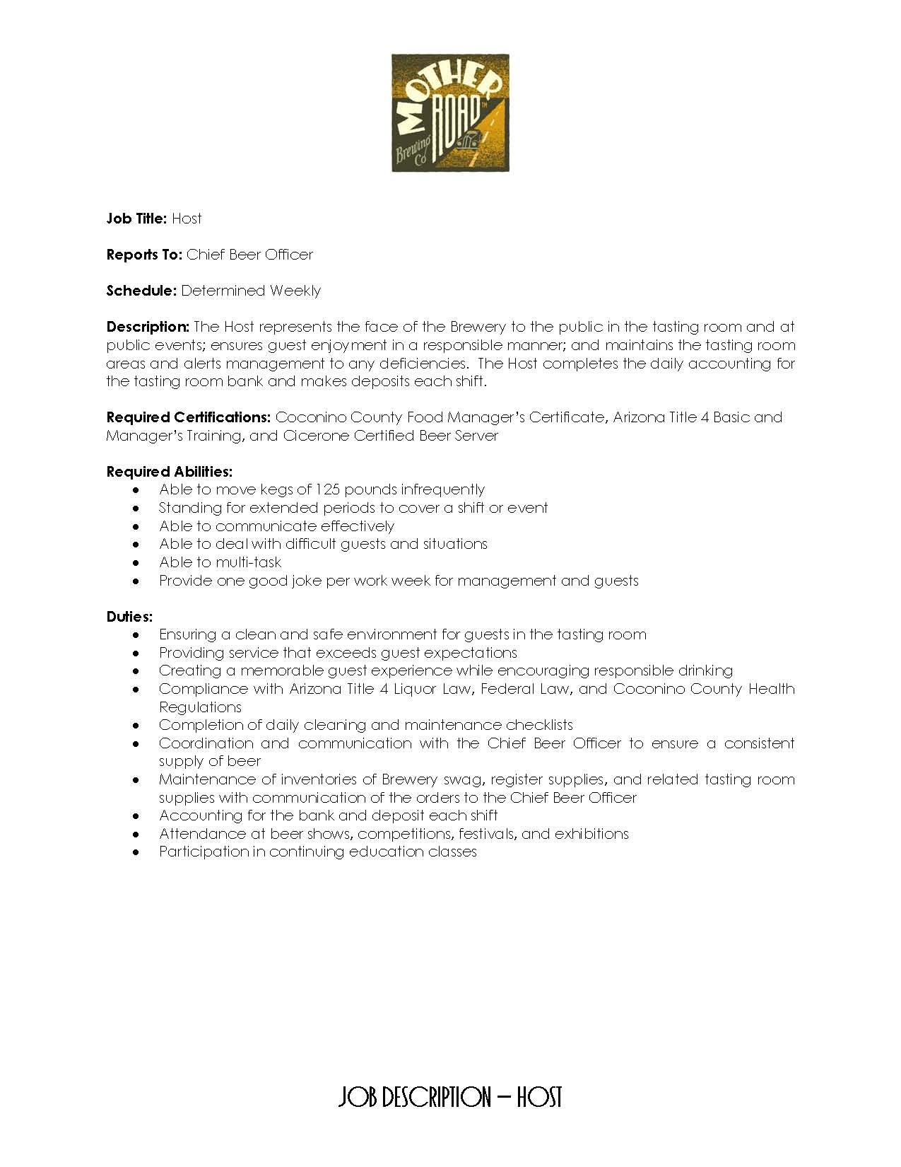 Hostess Job Description Restaurant Hostess Resume Description