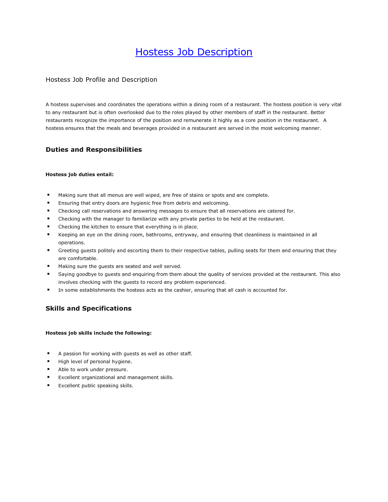 responsibilities of a hostess for resume