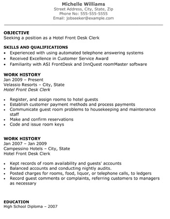Hotel Front Desk Clerk Resume Front Desk Jobs Resume Examples By Michelle  Williams