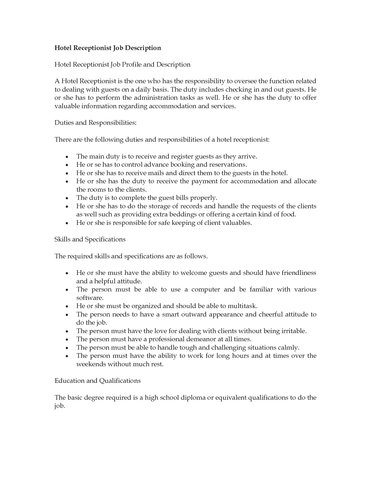 hotel receptionist job description receptionist job description resume sample