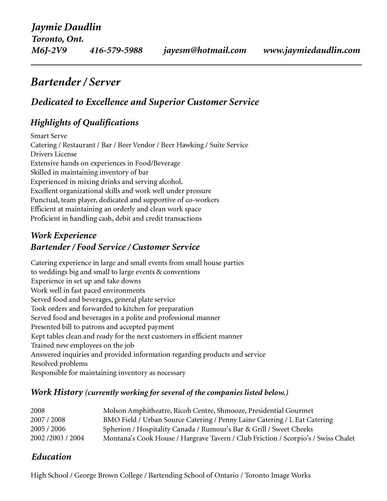 Resume Objective For Bartender