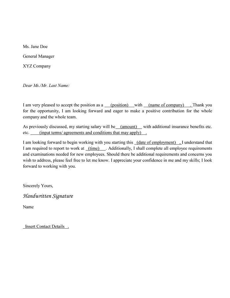 job acceptance letter Job Offer Acceptance Sample Letter jane doe