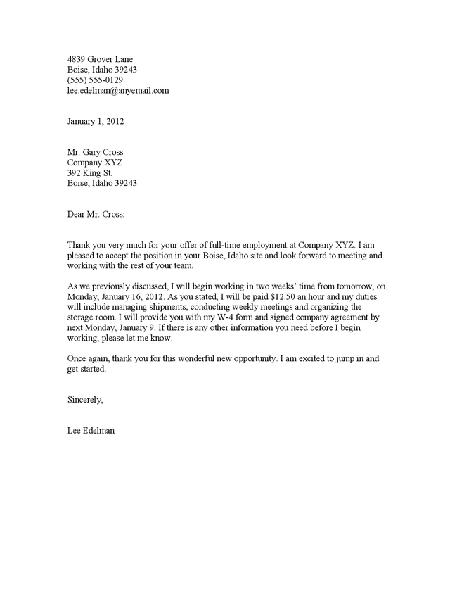 job acceptance letter format job acceptance letter after interview