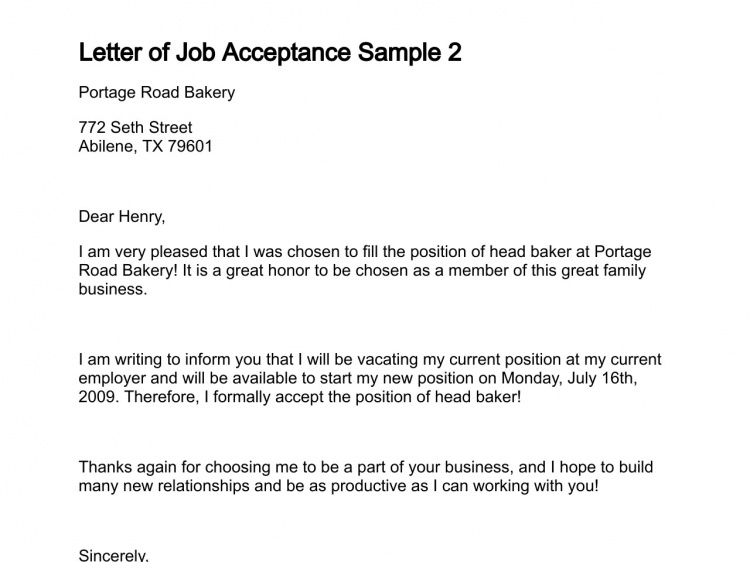 Good Sample Job Acceptance Letters