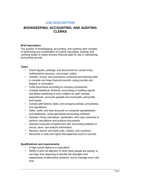 job description bookkeeping accounting auditing clerks bookkeeper job description for non-profit