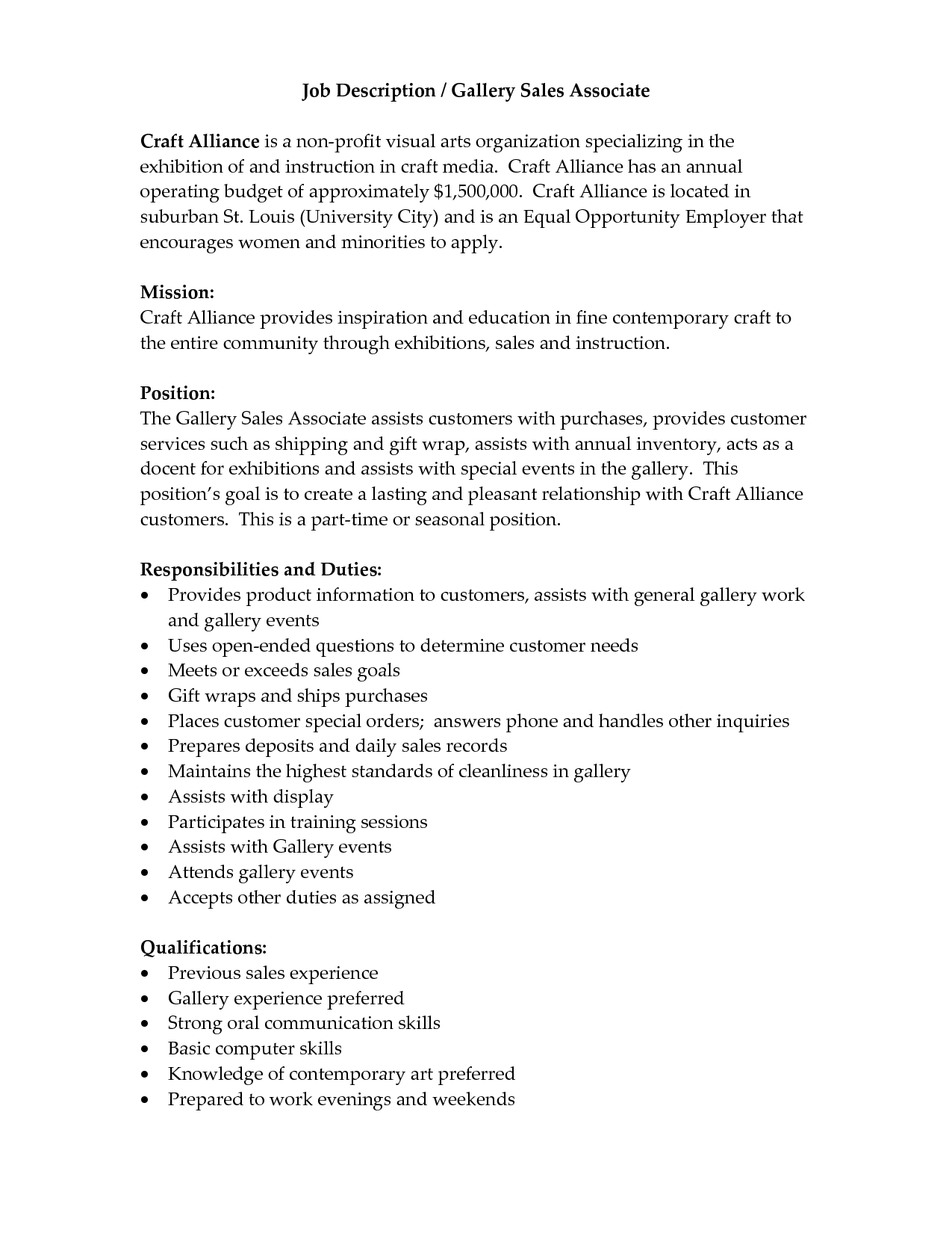 job description of retail sales associate for resume sales associate job description duties
