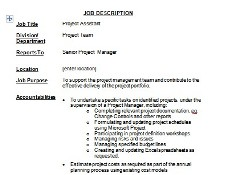 job description for project coordinator