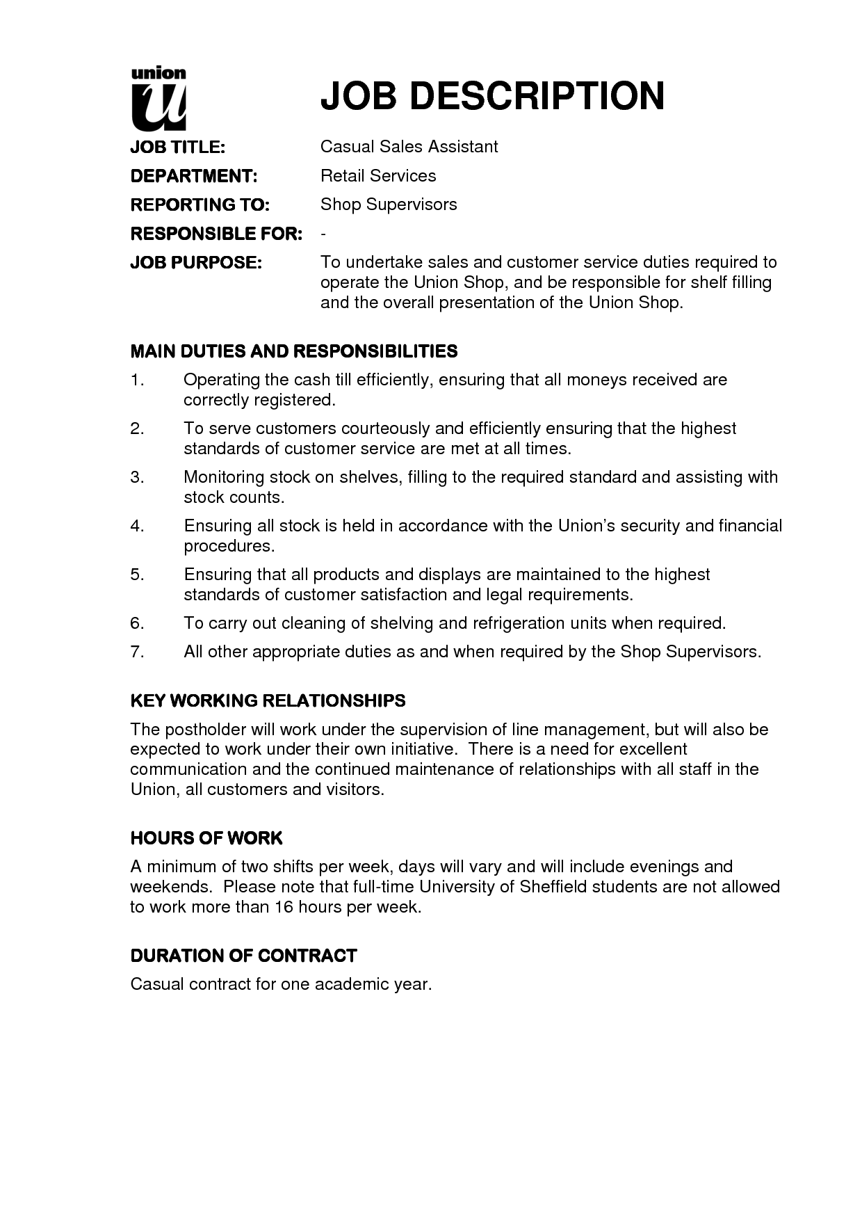 Sales associate job descriptions for resume for Example of a job description template