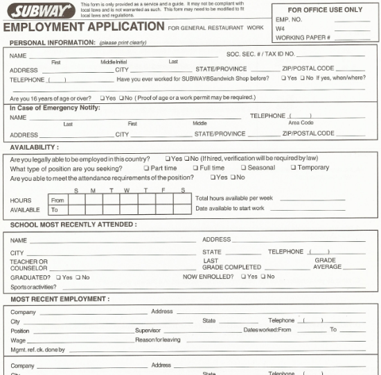 KFC Employment Job Application - SampleBusinessResume.com ...