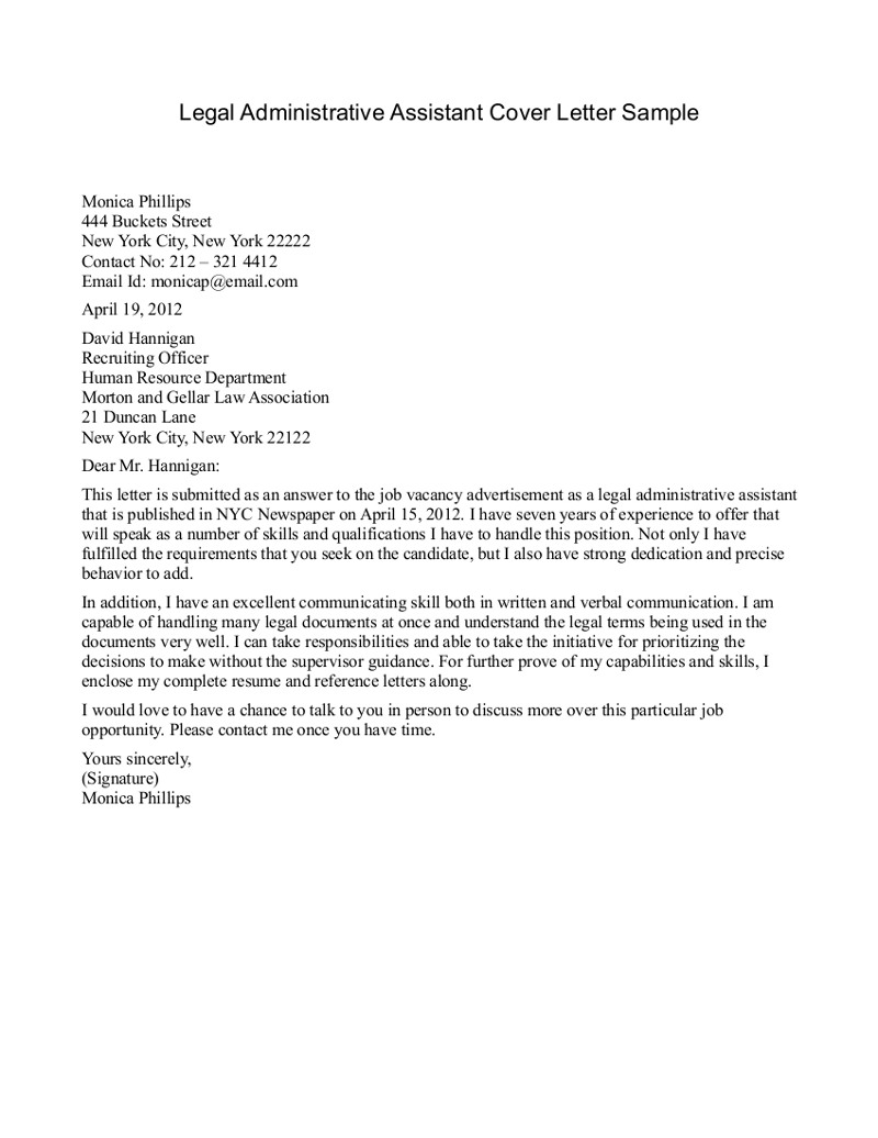 legal administrative assistant cover letter sample sample of cover letter for administrative assistant administrative assistant cover letter sample