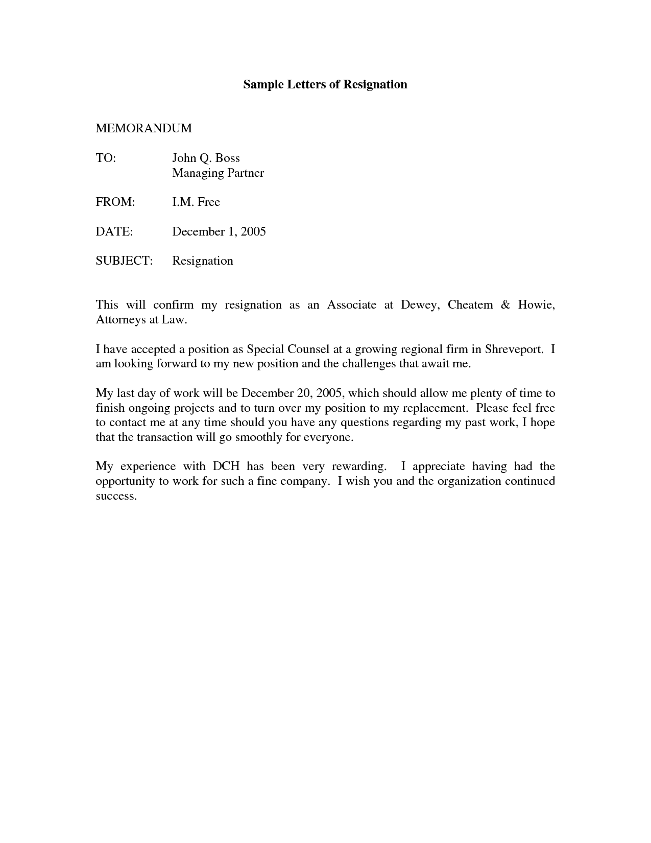 letter of resignation sample doc sample letter of resignation
