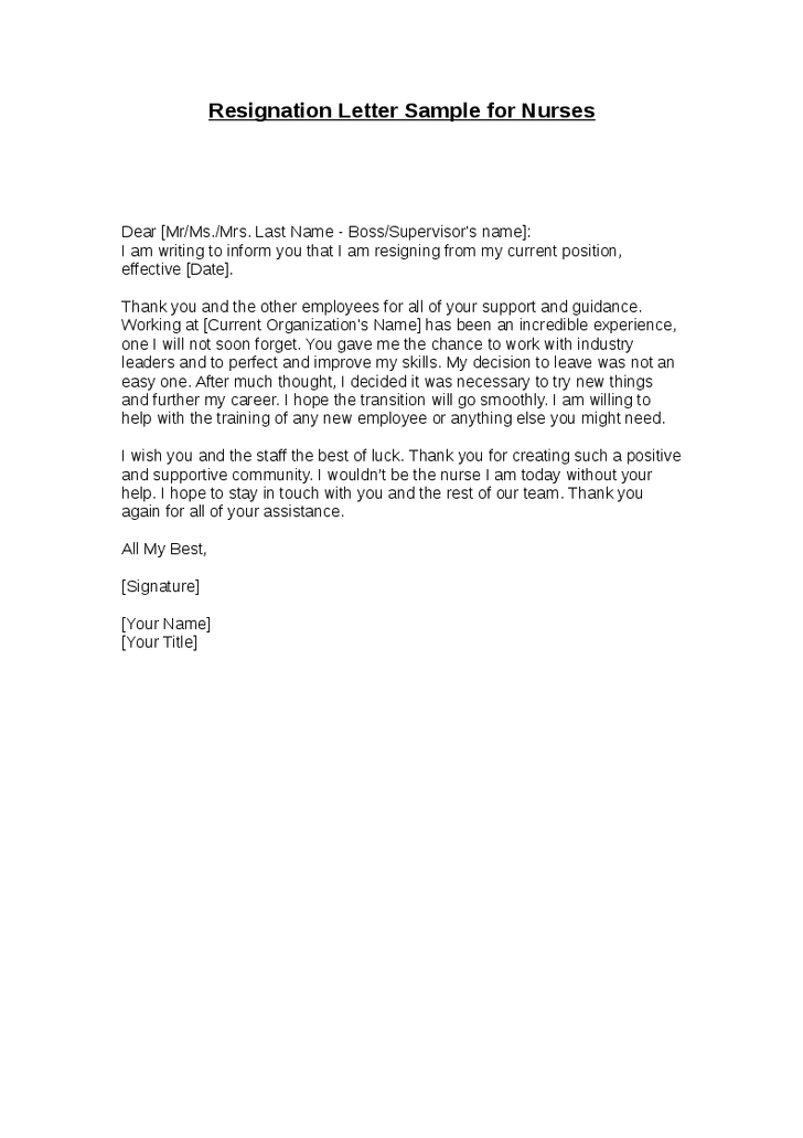 letter of resignation sample for nurses resignation letter