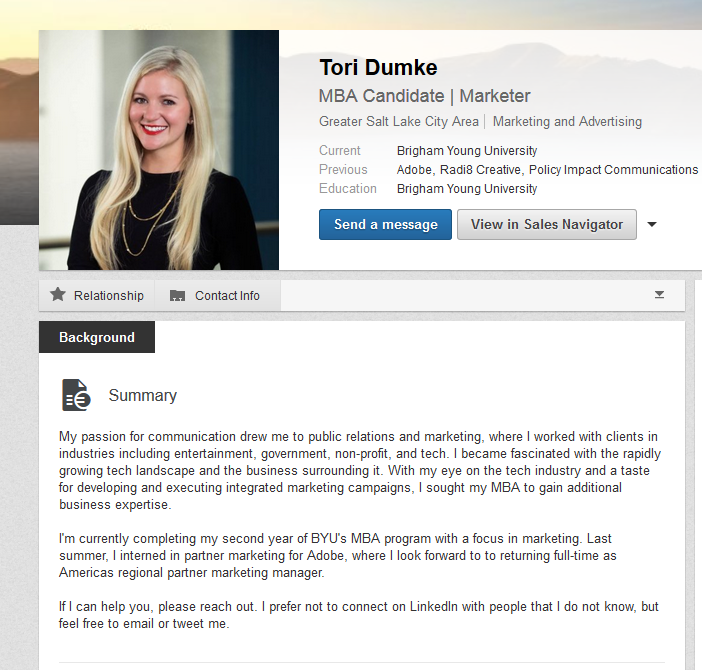 linkedin summary examples for marketing