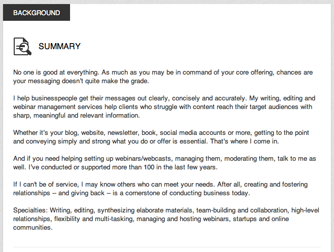 linkedin summary examples for students