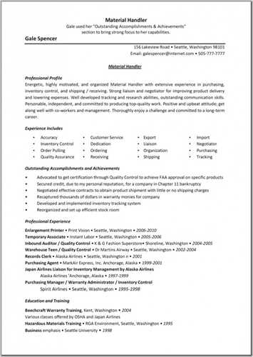 10 material handler resume sample