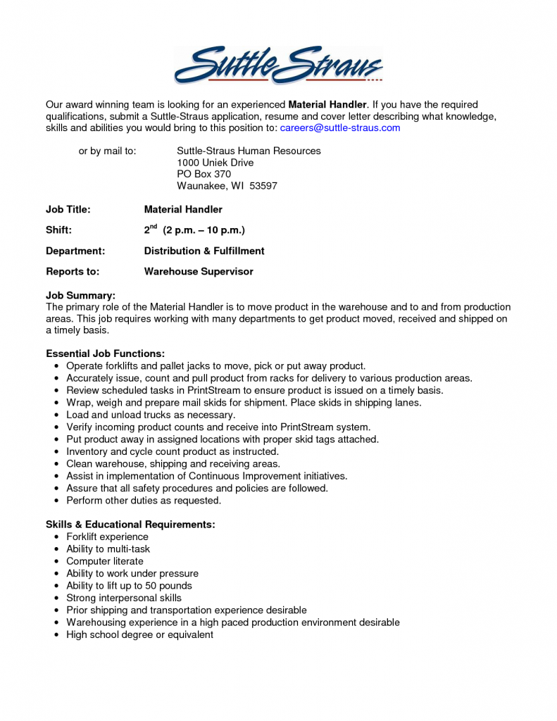 material handler resume skills Warehouse Material Handler Resume Sample