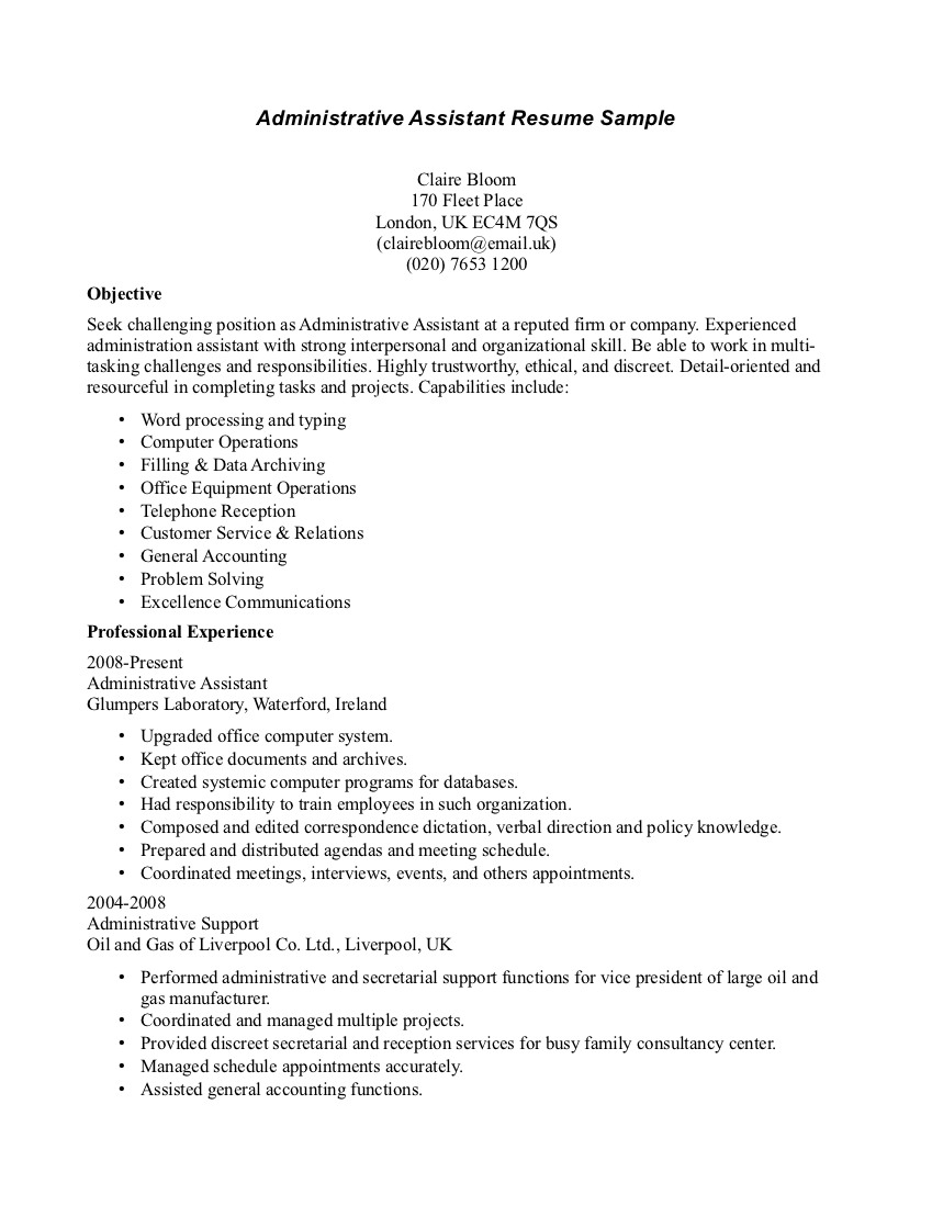medical administrative assistant resume administrative assistant resume claire bloom - Sample Resume For Executive Assistant