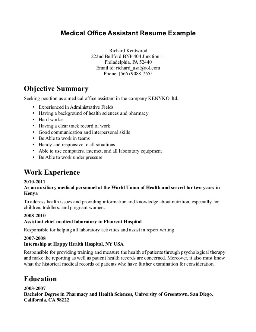 medical administrative assistant resume objective medical administrative assistant resume sample Medical Office Assistant Resume Example richard kentwood