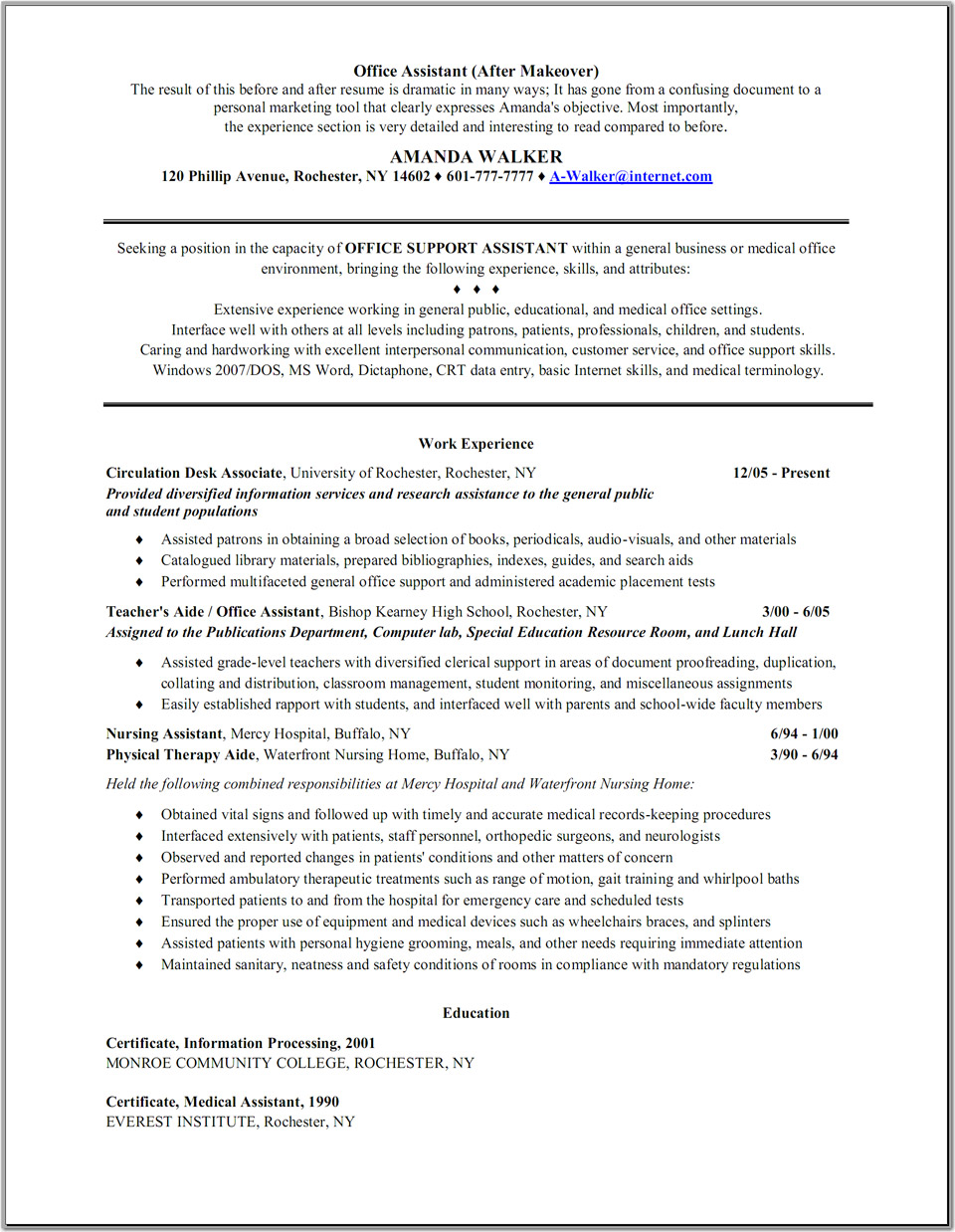 medical administrative assistant resume sample resume for administrative assistant at medical office office assistant amanda walker - Office Assistant Resume Sample