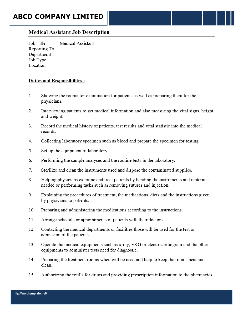 Doctor job duties for Office junior job description template