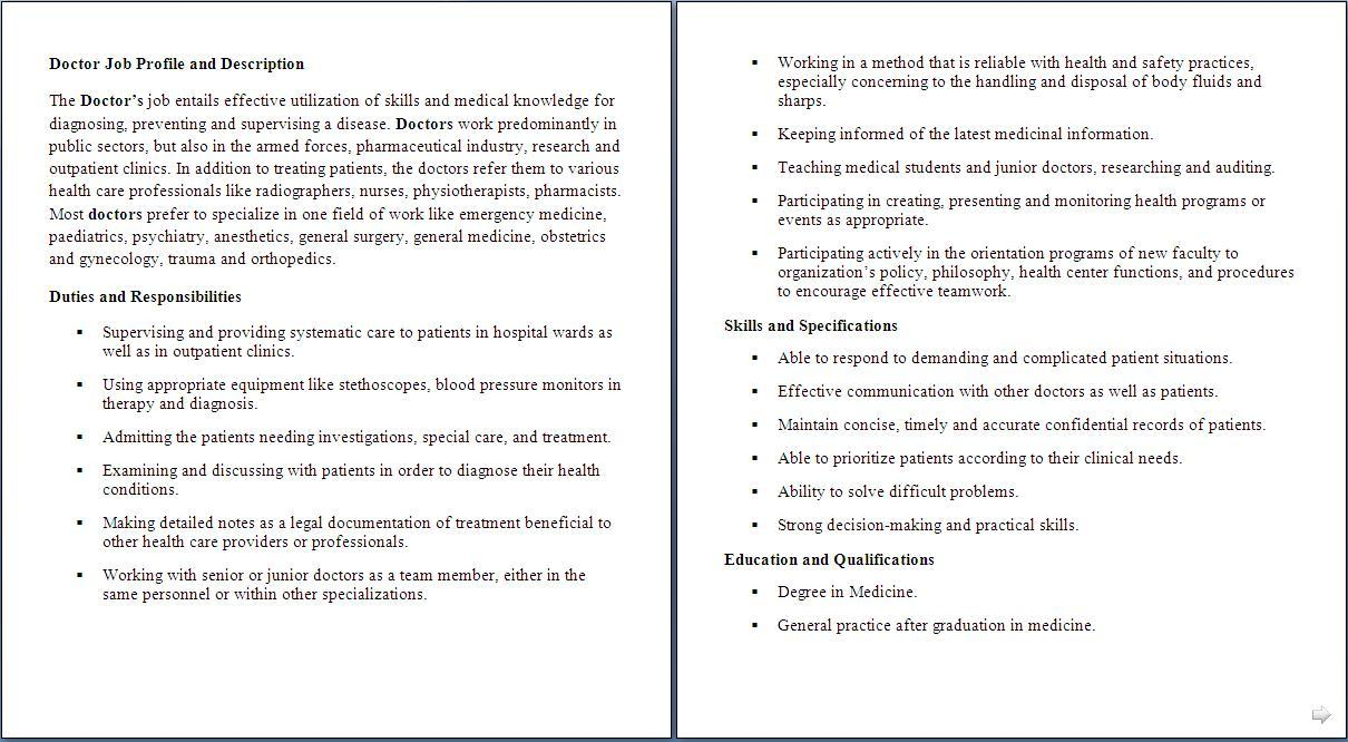 medical assistant job description for doctor Health Care job descriptions