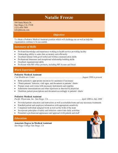medical assistant job description in pediatric experienced