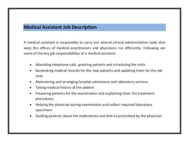 Sample Resume For Medical Assistant Job Description