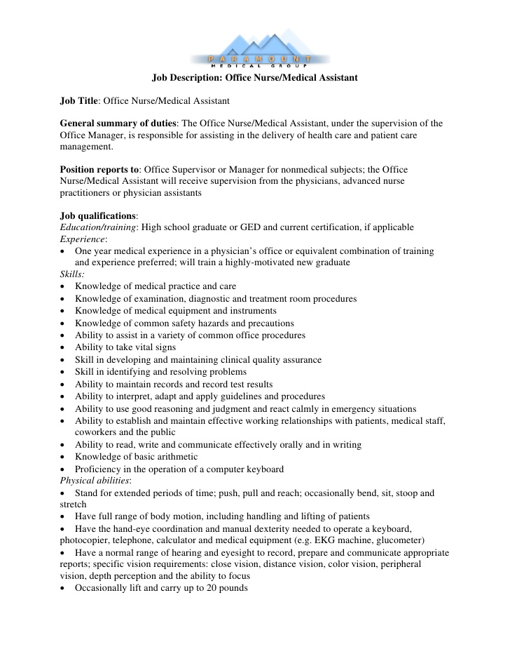 medical assistant job description template job description office nursemedical assistant - Duties Of Nurse Assistant