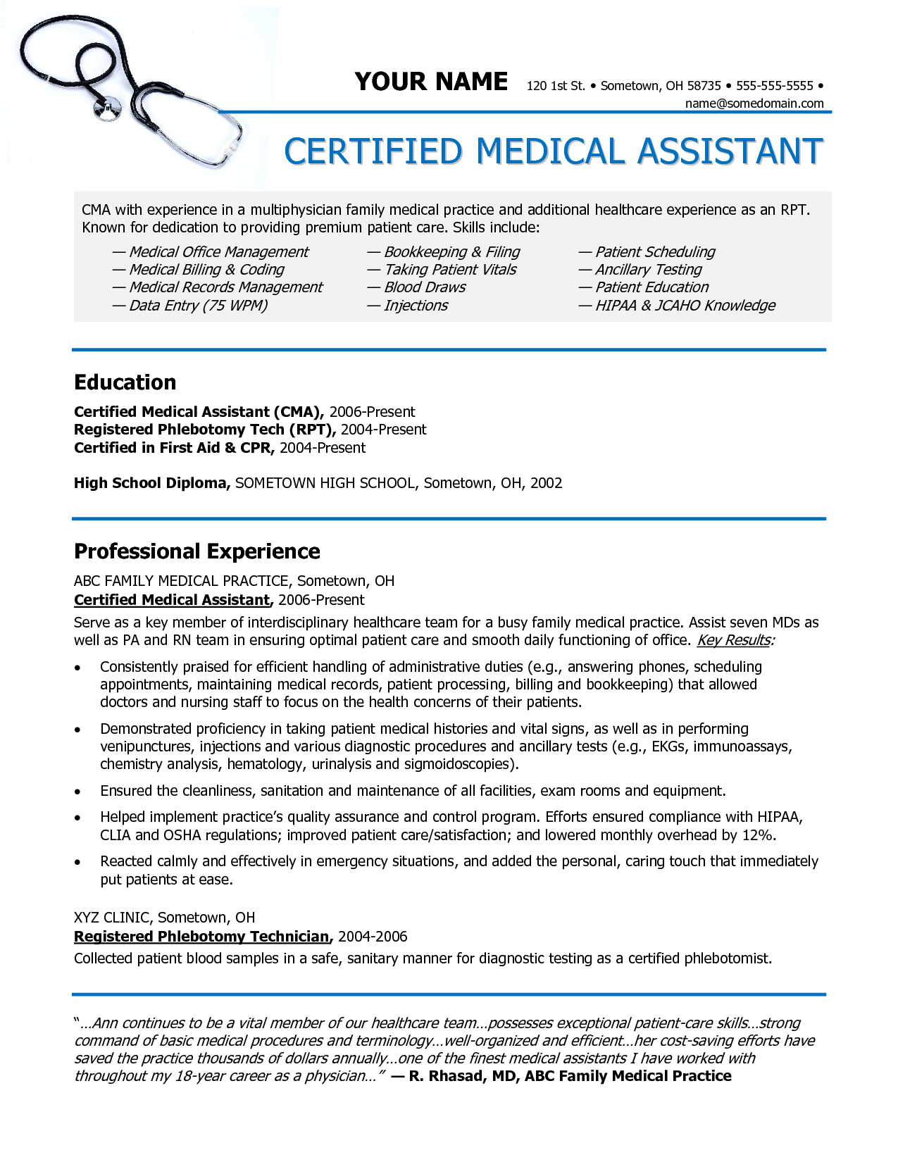 resume examples for medical jobs