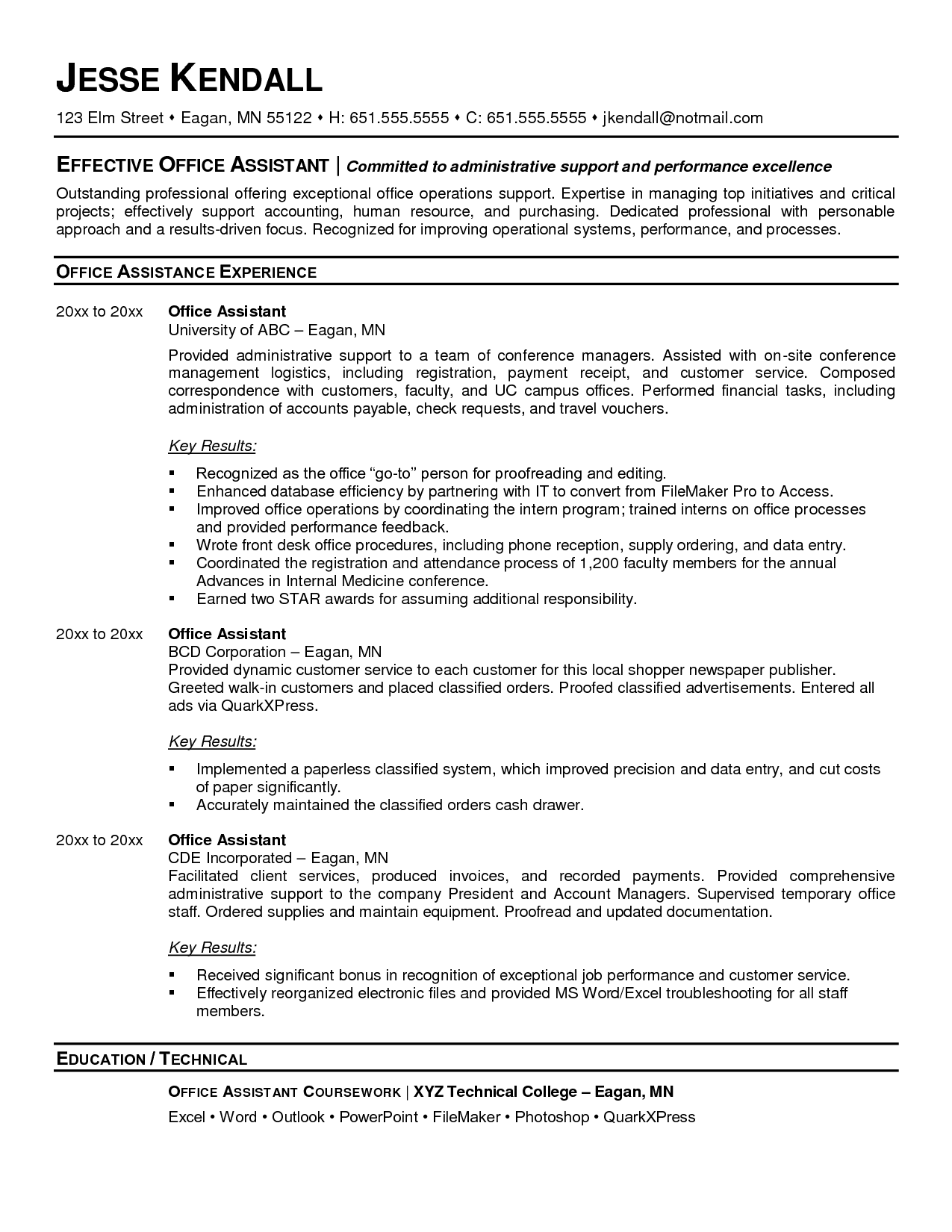 medical office administrative assistant resume sample resume for administrative assistant at medical office jesse kendall - Technical Administrative Assistant Sample Resume