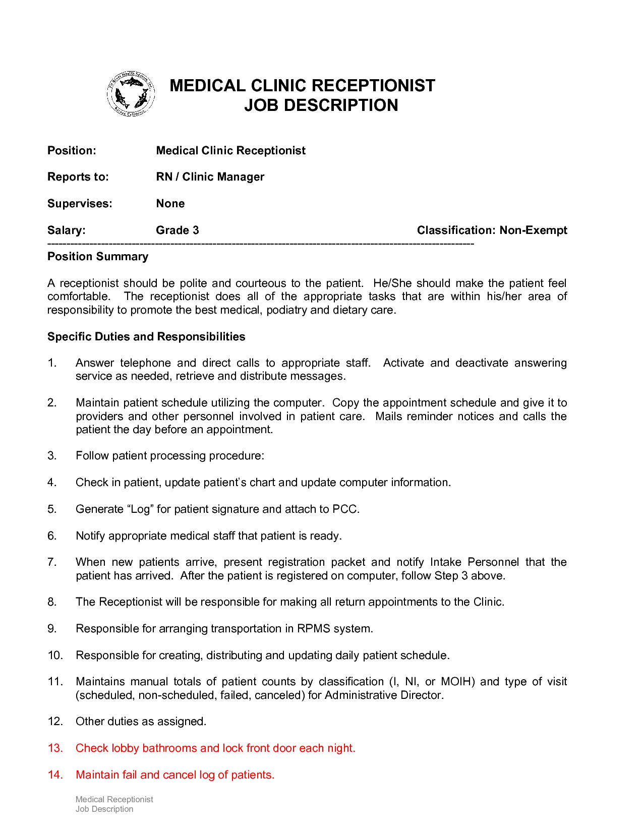 Medical Receptionist Job Description Resume Duties