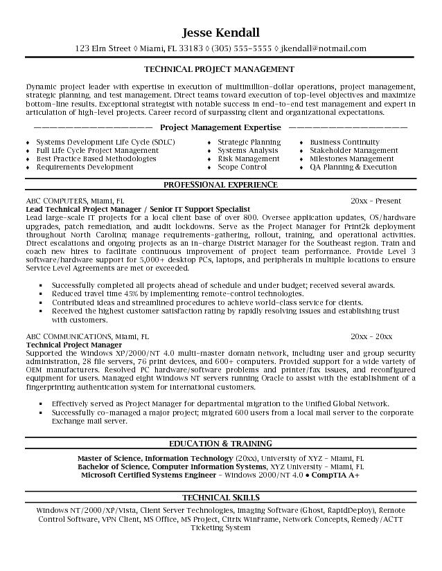 Microsoft Word Jk Technical Project Manager Project Manager Resume