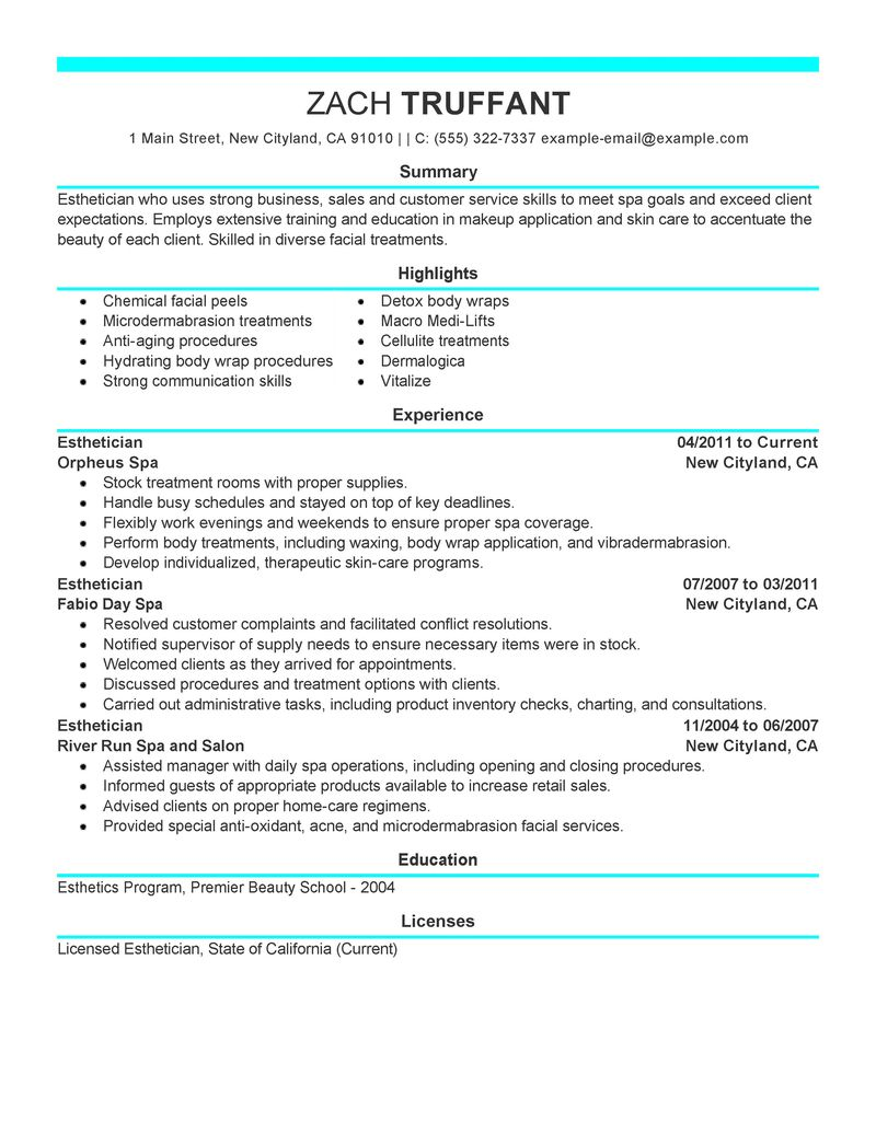 Modern Hair Stylist Resume Esthetician Job Description