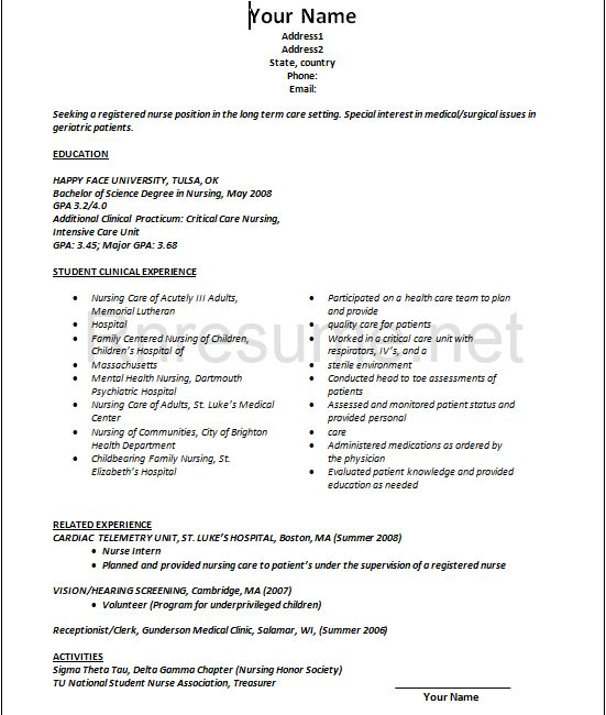 new grad nursing resume clinical experience Nurse New Grad Nursing Resume