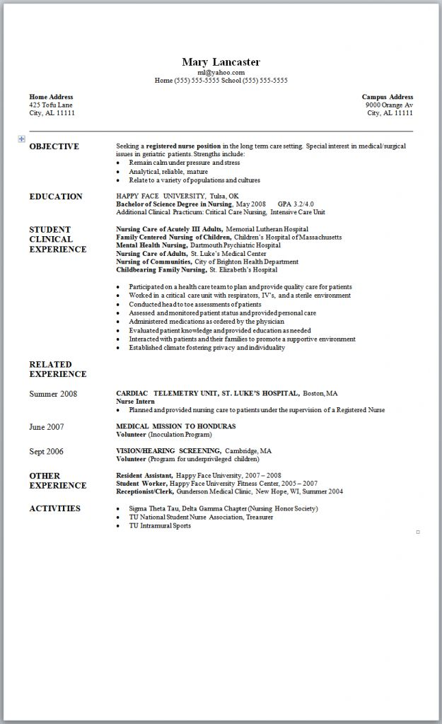 new grad nursing resume samples Sample Nursing Resume New Graduate Nurse mary lancaster
