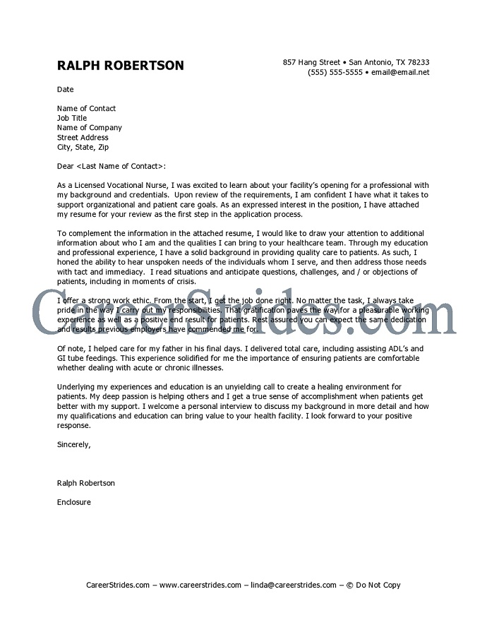 Job Cover Letter Sample Nurse Cover Letter Templates